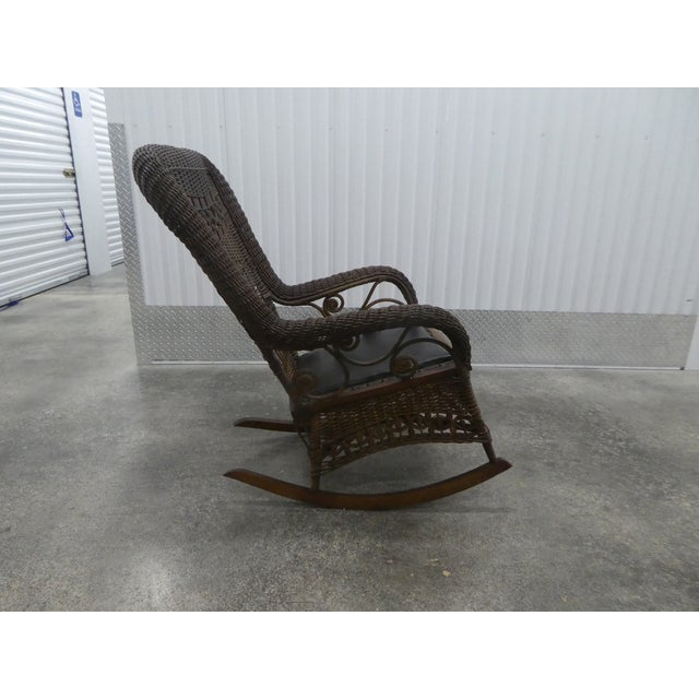 Brown Victorian Heywood Wakefield Wicker Rocking Chair For Sale - Image 8 of 13
