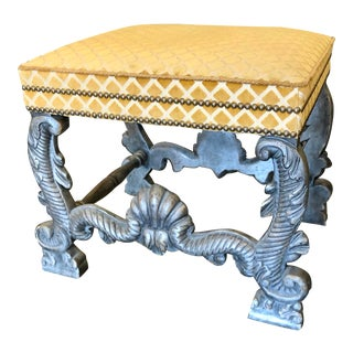 Minton Spidell Carved Italian Giltwood Silk Velvet Upholstered Bench For Sale