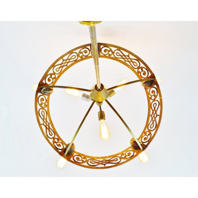 Art Deco Brass 8 Light Chandelier - Image 5 of 11