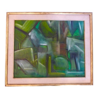 Vintage Abstract Oil Painting For Sale
