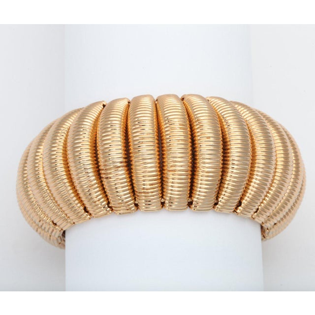 "Mid-Century Modern ""Gold"" Segmented Cuff For Sale - Image 3 of 6"