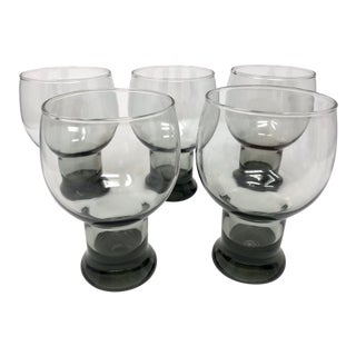 Mid 20th Century Smoked Glass Beer Glasses - Set of 5 For Sale