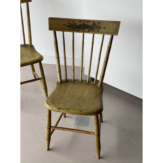 """Pair of Faux Bamboo Spindle Back Chairs H34.5"""" x W20.25"""" x D19"""" x SH17.5"""""""