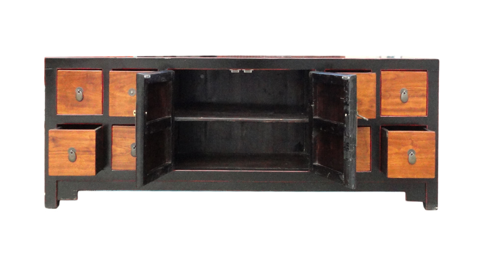 Chinese Black Brown Toned Low Console Cabinet   Image 5 Of 6