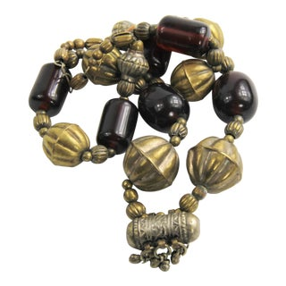 Vintage Tribal Boho Cherry Red Amber & Brass Bead Necklace For Sale
