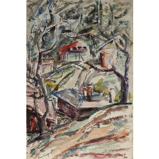 Richard Van Wingerden Houses in the Forest Landscape, Mid Century, Watercolor on Paper Circa 1950 For Sale