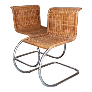 Wicker & Chrome Cantilever Chairs - A Pair