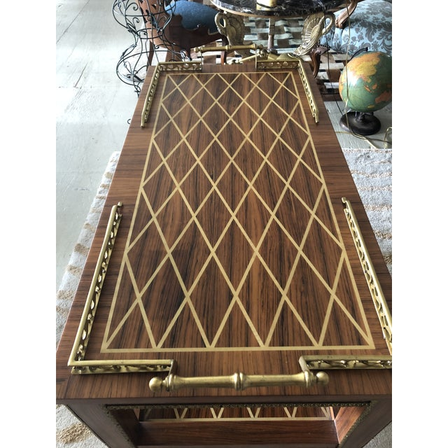 Italian Mixed Wood Inlay Bar Cart For Sale - Image 4 of 13