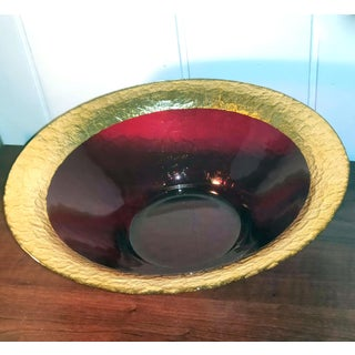 1970s Translucent Jewel-Tone Crimson Textured Glass Centerpiece With Wide Band Gilded Rim Preview