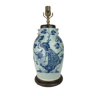 19th Century Blue & White Peacock Lamp For Sale