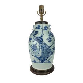 19th Century Celadon Blue & White Vase Lamp Peacock Lamp Peacock Design For Sale