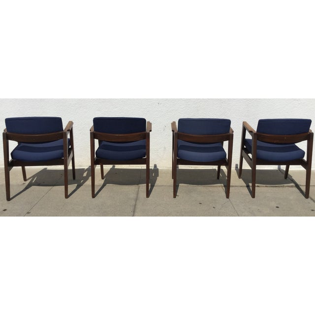 Vintage Navy Modern Chairs - Set of 4 - Image 6 of 11