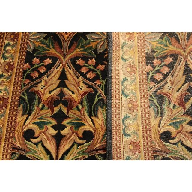 1980s Art Nouveau International Pak-Persian Latanya Black/Ivory Wool Rug - 4'1 X 5'1 For Sale - Image 5 of 8