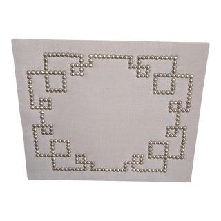 Greek Key MIX Linen, Nail Head & Cork Board Wall Piece