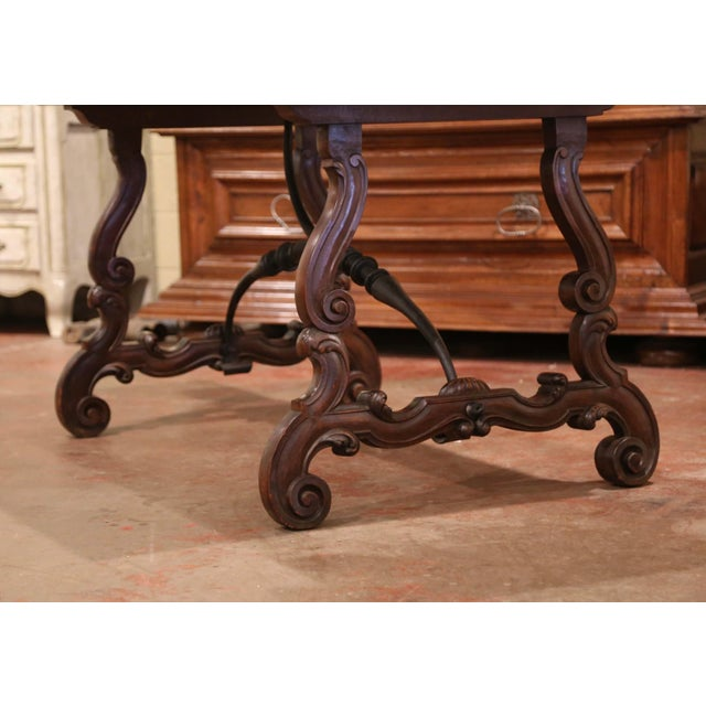 19th Century Spanish Carved Walnut and Wrought Iron Console Center Table For Sale - Image 9 of 13