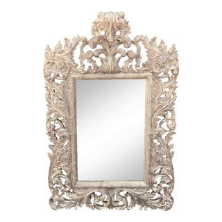 Spectacular Louis XV 18th C Style Silver Gilt-Wood Mirror For Sale