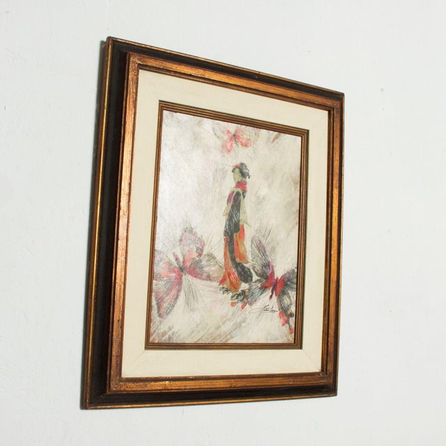 Mixed Media Art, Japanese Woman Pink Butterflies, Signed Painting For Sale In San Diego - Image 6 of 11