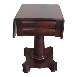 American Empire Flamed Crotch Mahogany Pembroke Side Table on Casters