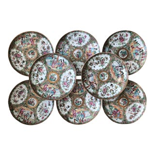 """19th Century Rose Medallion 8"""" Plates - Set of Eight For Sale"""
