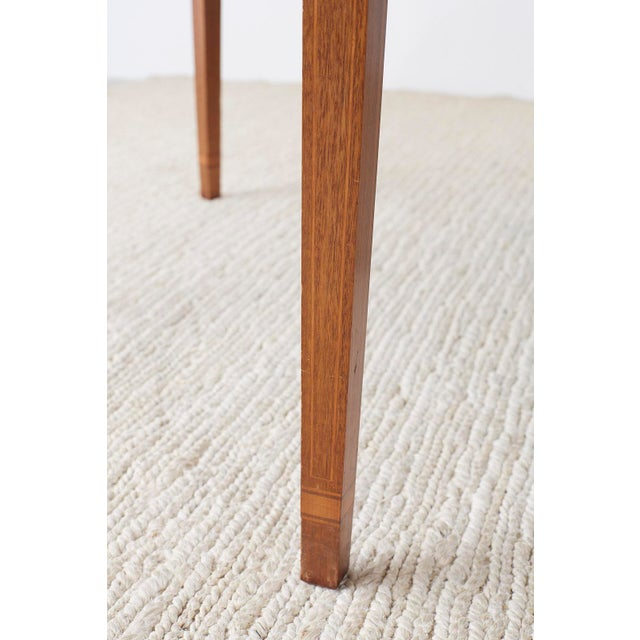 Wood American Hepplewhite Style Demilune Console Tables - a Pair For Sale - Image 7 of 13