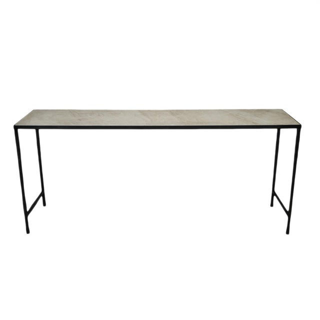 Vintage Modern Marble & Iron Console For Sale - Image 10 of 10
