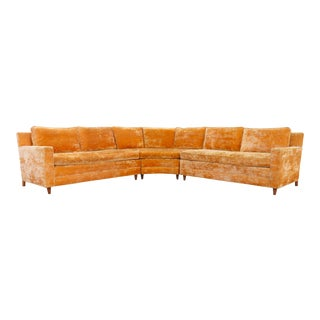 Mid Century 3-Piece Sectional Velvet Sofa For Sale