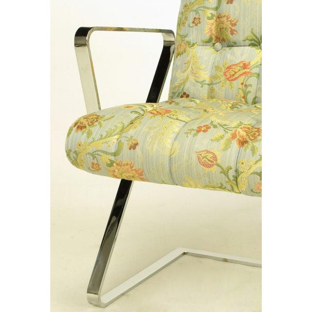 Yellow Four Channeled & Button Tufted Chrome Z-Frame Dining Chairs For Sale - Image 8 of 10