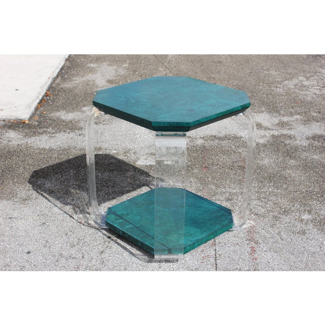 Lucite 1970s Mid-Century Modern Green Emerald Burwood and Lucite Accent Table For Sale - Image 7 of 13