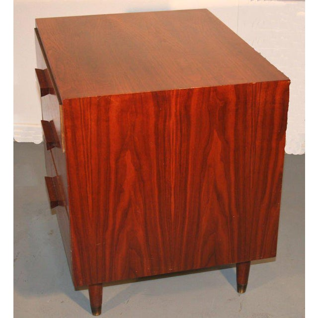Mid-Century Modern Mid-Century Modern Walnut Three Drawer Nightstands - A Pair For Sale - Image 3 of 4
