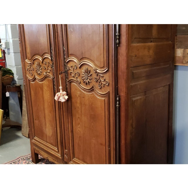 White Antique 18th Century French Normandy Country Double Door Wedding Armoire Cabinet C1790 For Sale - Image 8 of 13