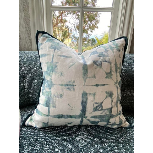 Featured in the 2020 San Francisco Decorator Showcase — Custom Aqua Watercolor Throw Pillows - Set of 2 For Sale - Image 4 of 6