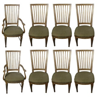 Suite of Eight Parcel-Gilt and Polychromed Dining Chairs For Sale