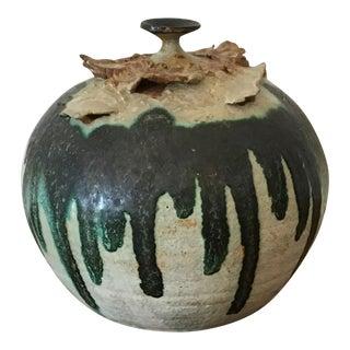 1970s Organic Modern White & Green Drip Glaze Studio Art Pottery Vase