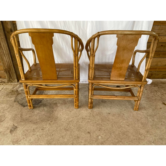 Asian Henredon Ming Rattan Chairs - a Pair For Sale - Image 3 of 13