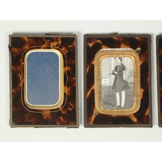 1900 - 1909 Antique French Faux Tortoiseshell Glass Picture Frames - Set of 6 For Sale - Image 5 of 11