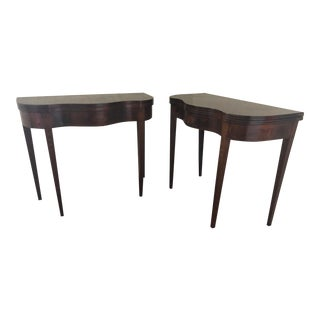 1900s English Traditional Mahogany Demi-Lune Card Tables - A Pair For Sale
