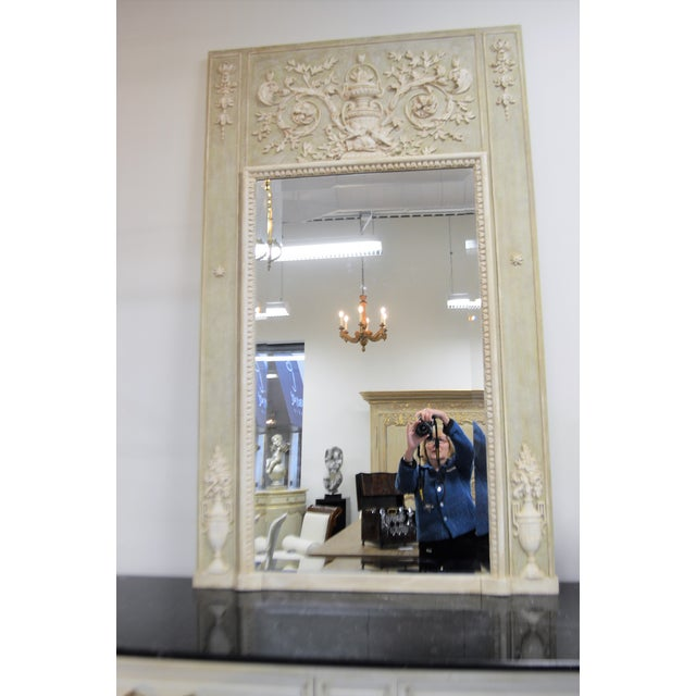 Glass Louis XV Style Painted Trumeay Mirror in a Light Green to With Antique White Accent, New Beveled Mirror For Sale - Image 7 of 7