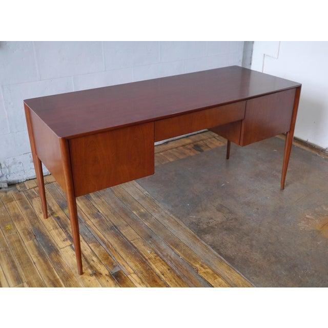 Brown T. H. Robsjohn-Gibbings Walnut Desk For Sale - Image 8 of 8