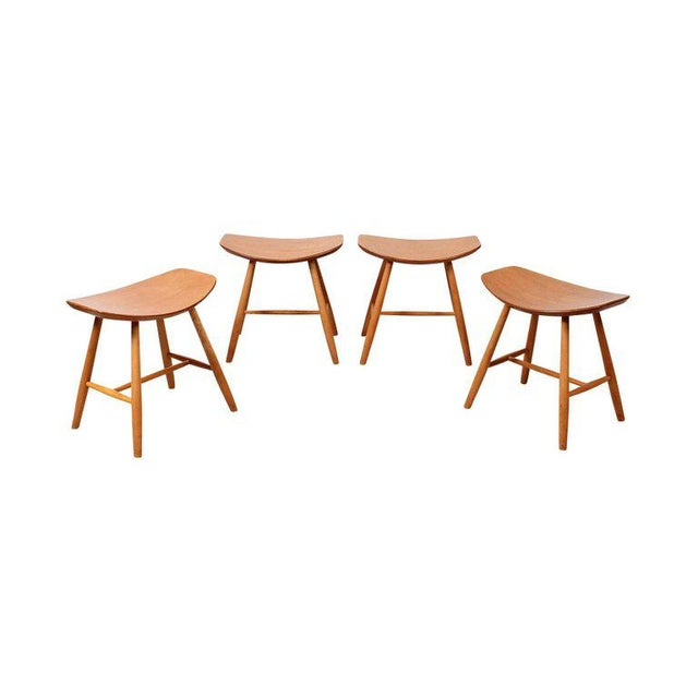 Mid-Century Modern Set of 4 Stools by Ejvind Johansson for FDB Mobler For Sale - Image 3 of 11
