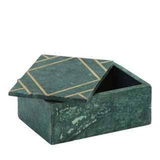 Marble & Metal Inlay Box For Sale