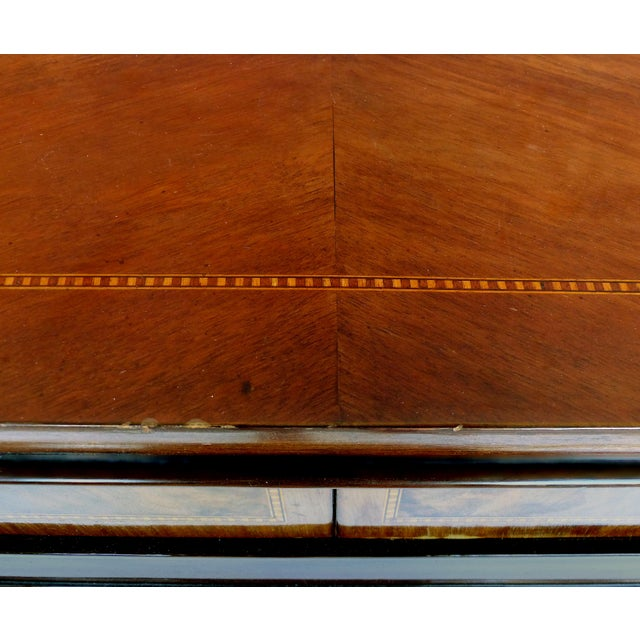 Carved Two-Drawer Console Table With Mahogany, Satinwood and Ebonized Wood For Sale - Image 11 of 13