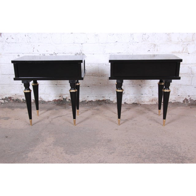 Metal French Mid-Century Modern Ebonized Wood and Brass Nightstands / End Tables - a Pair For Sale - Image 7 of 13