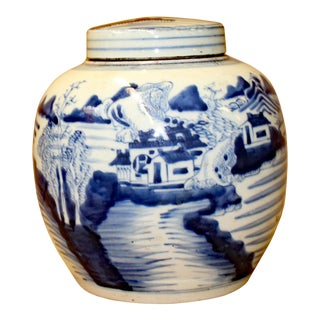 Chinese Blue White Ceramic Oriental Scenery Graphic Ginger Jar For Sale