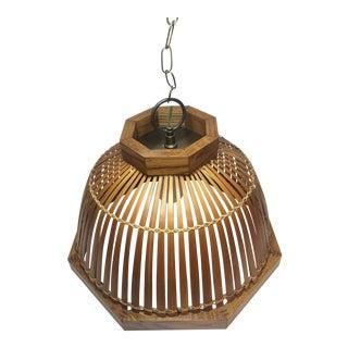 Vintage 1970's Bamboo/Rattan Pendant Indoor Hanging Task Lighting For Sale