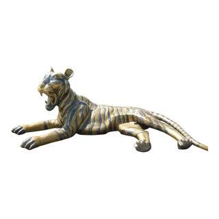 Large 70's Sitting Bronze Tiger For Sale