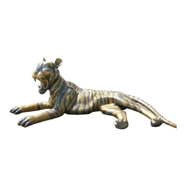 Large 70's Sitting Bronze Tiger For Sale