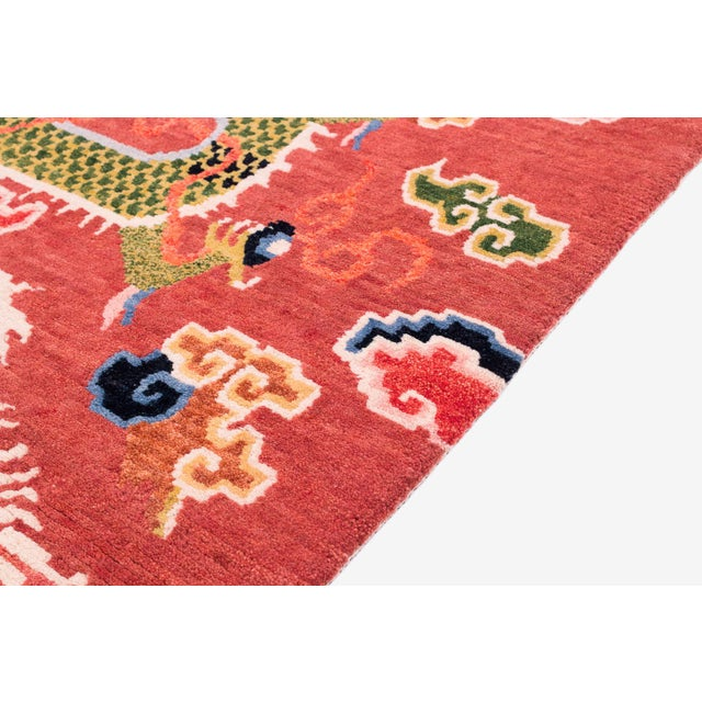 2010s Salmon Pink, Red, Green, and Blue Wool Tibetan Dragon Area Rug For Sale - Image 5 of 8