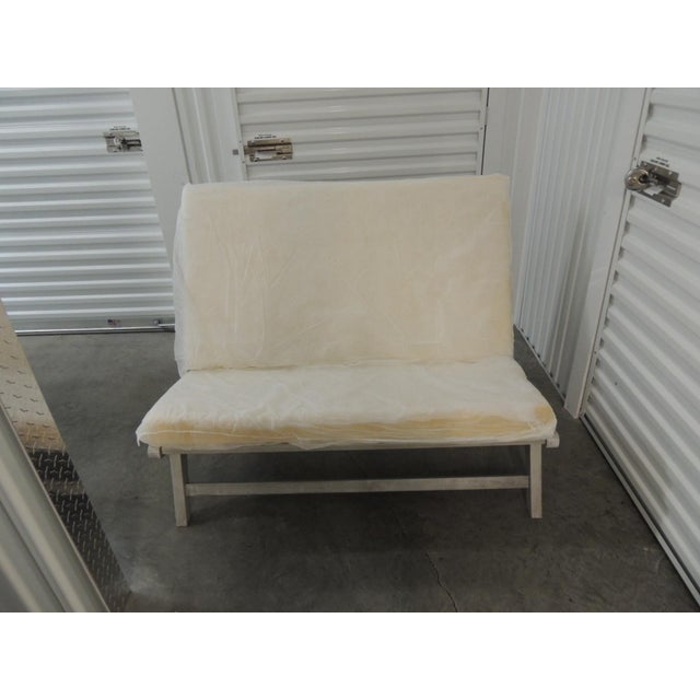 Outdoor Safavieh Weathered Finish Settee For Sale In Miami - Image 6 of 10