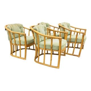 Vintage Bent Rattan Arm Chairs For Sale