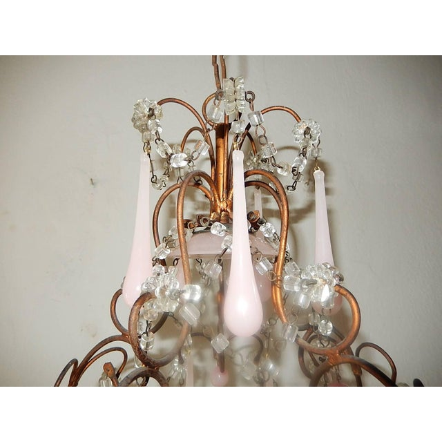 French French Pink Opaline Murano Drops Chandelier, circa 1920 For Sale - Image 3 of 9